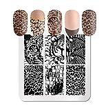 Placas de estampado de uñas de leopardo cuadrado Patrones de animales Diseño de arte de uñas de acero inoxidable Herramientas de plantilla Placa de sello