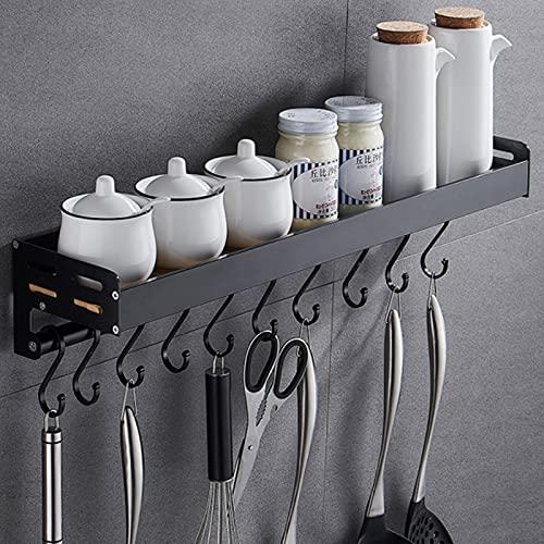 SOSmart24 Pure Black 50cm Gewürzregal für die Wand aus Metall mit 8 Haken - Schwarz - Nordic Minimalism - Wandregal Organizer Küche Küchenregal Küchenhelfer Gewürzhalter Regal Gewürzgläser