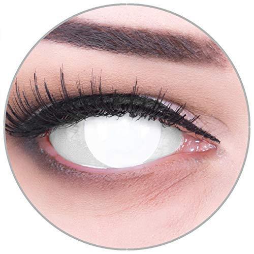 Kontaktlinsen Blind White komplett weiß, STARKE SICHTEINSCHRÄNKUNG,weich ohne Stärke, 2er Pack inkl. Behälter und 60ml Pflegemittel angenehm zu tragen und perfekt zu Halloween oder Karneval