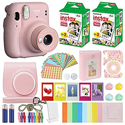 Fujifilm Instax Mini 11 - Instant Camera Compatible Carrying Case + Fuji Instax Film Value Pack (40 Sheets) Accessories Bundle, Color Filters, Photo Album, Assorted Frames by Minimate