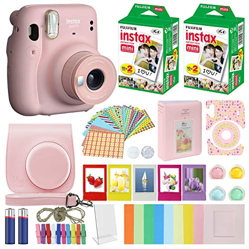 Fujifilm Instax Mini 11 Instant Camera Blush Pink Compatible Carrying Case + Fuji Instax Film Value Pack (40 Sheets) Accessories Bundle, Color Filters, Photo Album, Assorted Frames