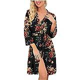 HCOO Damen Nachthemd Satin Nachtkleid Sexy Negligee Kurz Nachtwäsche Trägerkleid Sleepwear