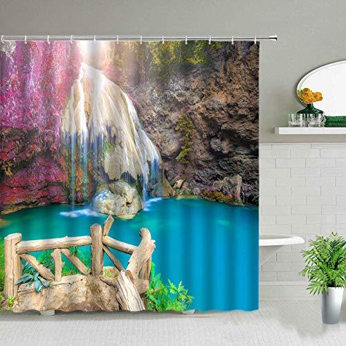 JUGTFYH Cortina de la duchaTende da doccia a cascata Paesaggio primaverile Paesaggio Naturale Tenda impermeabile Arredo bagno per la casa Tessuto in Poliestere con ganci