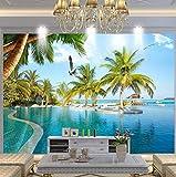 3D Papel Pintado Paisaje natural Hawaii Playa Mar Cocotero 200 x 140 cm no-trenzado Salón Dormitorio Despacho Pasillo Decoración murales decoración de paredes moderna Grafiti Arte