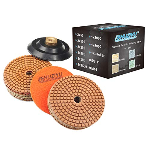 "SHUZIYU Diamond Flexible Polishing Pads 4"" inch Grit from 50 to 6000, Wet/Dry Set of 11+1 Backer 5/8-11 Thread"