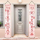 Happy 90th Birthday Party Door Banner Decorations 90 Years Old Birthday Party Supplies Fabric Welcome Porch Sign Indoor Outdoor for Women (Rose Gold)