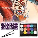 Ahagut Set de Pintura Facial para niños 15 Colores Paleta de Maquillaje Profesional Adecuada para niños, Set de Maquillaje para Halloween y Carnaval, con Pincel