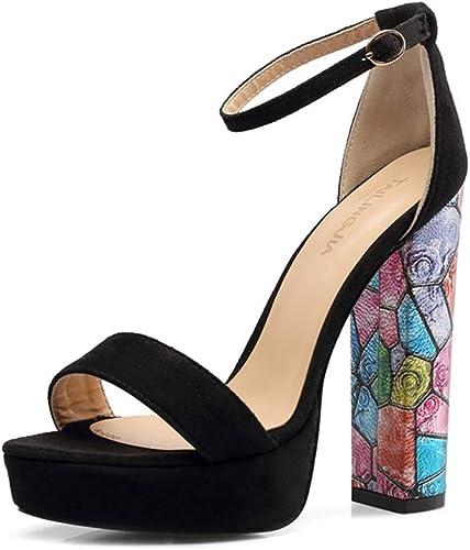 PFMY.DG Sra Tacón alto Sandalias, Vendaje plataforma impermeable Impresión Moda Tacones altos, Cena zapatos de boda,negro,35