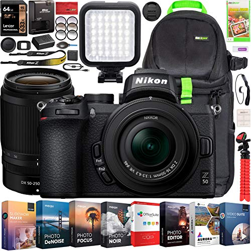 Nikon Z50 Mirrorless Camera Body 4K UHD DX-Format 2 Lens Kit NIKKOR Z DX 16-50mm F3.5-6.3 VR + Z DX 50-250mm F4.5-6.3 VR Bundle Deco Gear Backpack + Photo Video LED + Filters + Software & Accessories