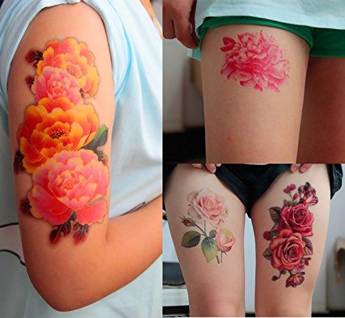 DaLin 4 Sheets Sexy Temporary Tattoo Fake Tattoos for Women, Peony Flower, Rose