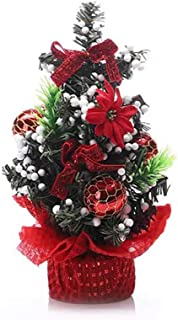 Mini Tabletop Desktop Artificial Christmas Tree Decor with Bows and Baubles Ornaments Decorations, 8 inch Tall (Red)