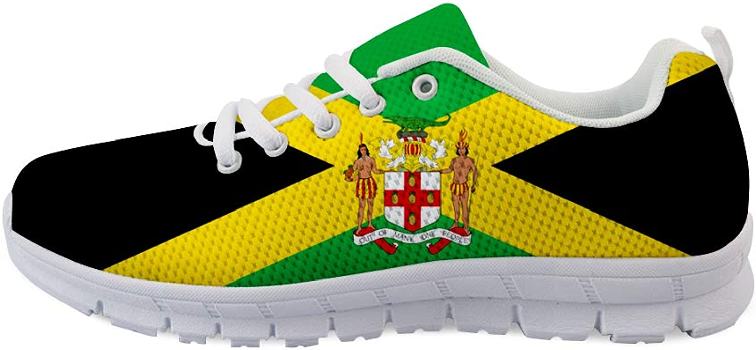 Owaheson Lace-up Sneaker Training shoes Mens Womens Side Cut Jamaica Flag National Emblem