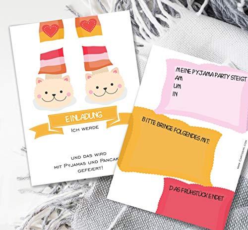 Cartissimi 6 Einladungskarten für Pyjama-Partys mit Briefumschlägen und Aufklebern - Sleepy Sabrina