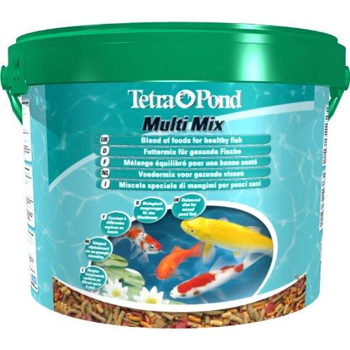 Tetra Pond Multi Mix – Alimentation Quotidienne pour Différentes Espèces de Poissons de Bassin - Mélange Complet d'Aliments : Flocon, Stick, Wafer, Gammarus - Favorise Vitalité et Energie - 10 L