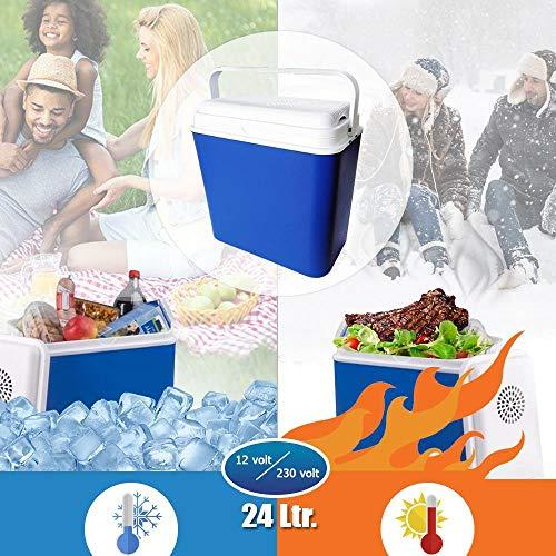 24 Liter Kühlbox KÜHLT und WÄRMT Thermo-Elektrische Kühlbox 12 Volt Mini-Kühlschrank für Auto und LKW Camping Energieklasse A++ Blau/Weiss Warmhaltebox Kühltasche Gefriertasche