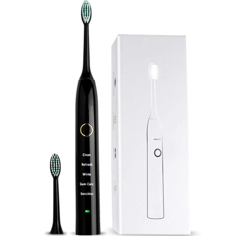 ヘア評判小麦充電式電動歯ブラシ、5モード、DuPontソフトブラシ、防水IPX68、USB充電、低ノイズ、