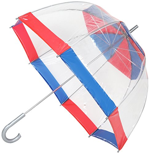 Totes Clear Bubble Umbrella (One Size, Red/Blue)