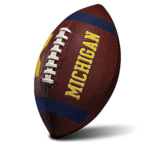 Franklin Sports NCAA Michigan Wolverines Kids Youth Football - Official College Team Football with Team Logos - Junior Size Football