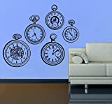 Diuangfoong Pocket Watch Wall Decal- Set of 5 Pocket Watches- Clock Decal