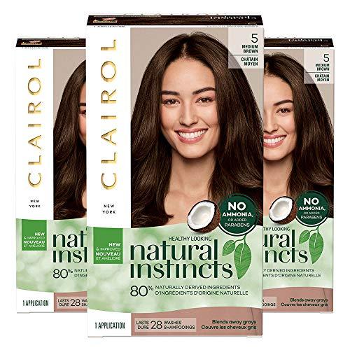 Clairol Natural Instincts Semi-Permanent Ammonia-Free Hair Color, 5 Medium Brown, Hazelnut, Pack of 3