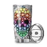 MiKiBi-77 - Bicchiere da viaggio in acciaio INOX a forma di teschio con coperchio scorrevole per bevande fredde o calde, 600 ml, colore: Bianco