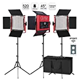 GVM Led Video Lights with APP Control, Dimmble Bi-Color Video Lighting Kits with Aluminum Alloy Shell, 3 Pack Led Light Panels for Photography Studio Lighting, 520pcs Led Beads, 3200K-5600K, CRI 97+