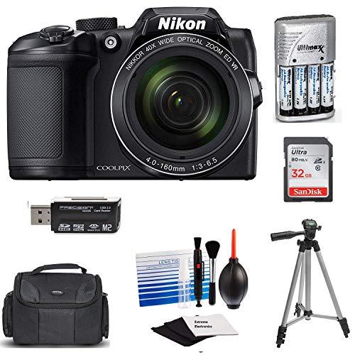 Nikon Coolpix B500 Wi-Fi Digital Camera (Black) with 32GB Card + Case + Batteries & Charger + Tripod + Extreme Electronics Cloth+ Kit