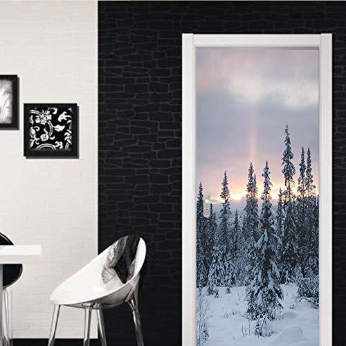 YQLKD 3D Mural Puerta Amanecer Nieve Bosque Puerta Pegatinas DIY Puerta Etiqueta De La Pared