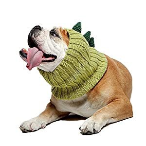 Zoo Snoods Dinosaur Dog Costume – Neck and Ear Warmer Hood for Pets (Large)