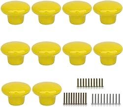 10 Stks Ronde Vorm Keramische Deur Knop Dressoir Lade Locker Pull Handvatten Kast Knoppen met 3 Grootte Schroeven (Geel)