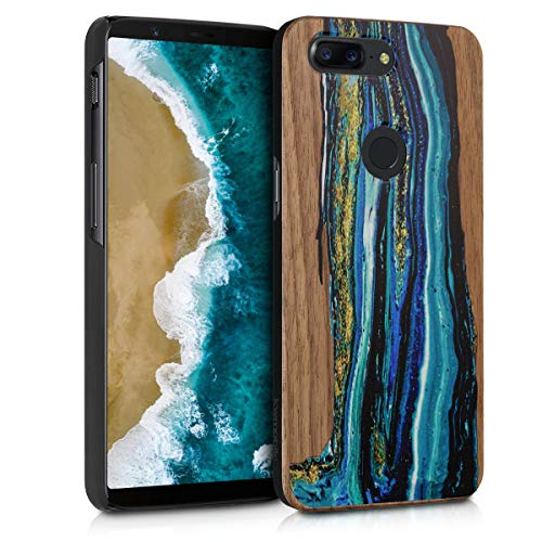 kwmobile Wooden Case for OnePlus 5T - Hard Case with TPU Bumper - Watercolor Waves, Blue/Brown, Walnut