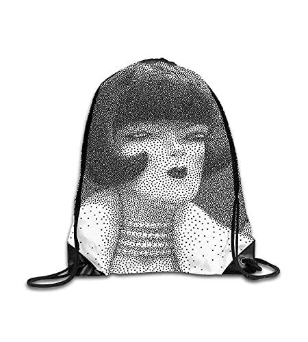 Mochila personalizada con patrón de medio tono punteado negro blanco retrato de Bob Haired Posh Lady negro gris blanco Fitness Beam Mochila, mochila deportiva, bolsa escolar