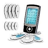 Electroestimulador digital,para aliviar el dolor muscular y el fortalecimiento muscular, masaje, EMS, TENS, pantalla LCD azul,8 electrodos autoadhesivos, 16 Programas de masaje