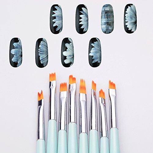 Artlalic Lot de 8 pinceaux de French Nail Art, couleur menthe, forme en demi-lune pour effet dégradé, pinceau pour peindre des pétales