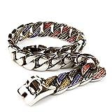 HDDFG Collar de Diamantes para Perros, Correa de Acero Inoxidable para Mascotas de 32 mm, Cadena de Metal, Collar de Perro Grande de Cristal de Lujo, Cuero Pitbull Bulldog (Size : 32mmX56cm)