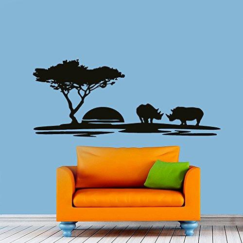 Stickers muraux Paysage Coucher de soleil rhinocéros Autocollant pépinière Art Chambre vinyle autocollant Décor murale peintures Murales Chambre vk32