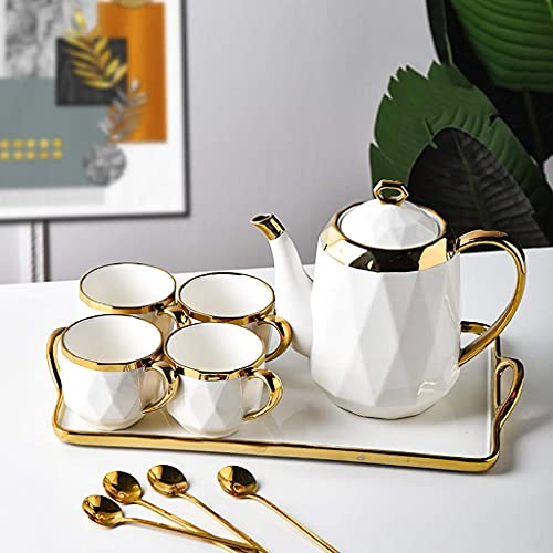 FGDSA European Style Tea Set, Bone China Kettle And Tea Cup, Gray Coffee Set With Tray, Suitable For Wedding Gifts/family Afternoon Tea (Color : B, Size : 1 pot 4 cups)