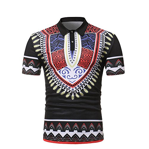 Yowablo Polo T-Shirt Herren Slim Fit Kurzarm afrikanische gedruckte Muscle Tee Casual Tops Bluse (XXL,2Schwarz)