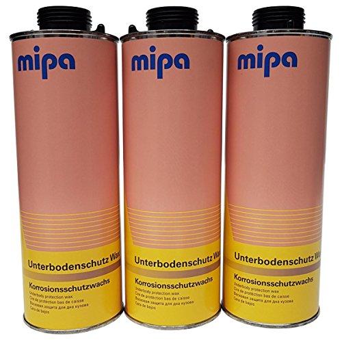 Lack Fachhandel 3X Mipa Unterbodenschutz Wax/Wachs Spritzware 1 Liter Korrosionsschutzwachs Korrosionsschutzwax Bitumenfrei Saison Schutz
