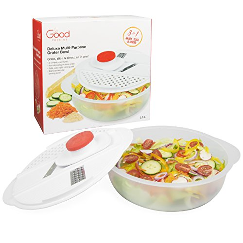 The Original Grater Salad Bowl - All In One Slicing, Shredding, Grating, Mandoline Mixing Bowl with Lid