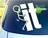 CCI128 - Fk It funny 5.75 In WHITE Die Cut Vinyl Car Decal Sticker for Car Window Automobile Window Car Bumper Truck Laptop Ipad Notebook Computer Tablet Decal Skateboard Motorcycle