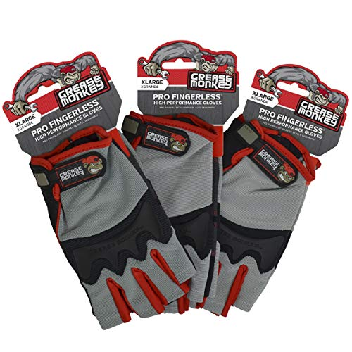 Grease Monkey Pro Fingerless All Purpose Work Gloves & Workout Gloves, 3 Pack, X-Large