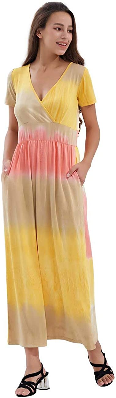 KLY Womens Tie Dye Sales of SALE items from new works Award-winning store Short Sleee Maxi V Dress Pockets with Wr Neck