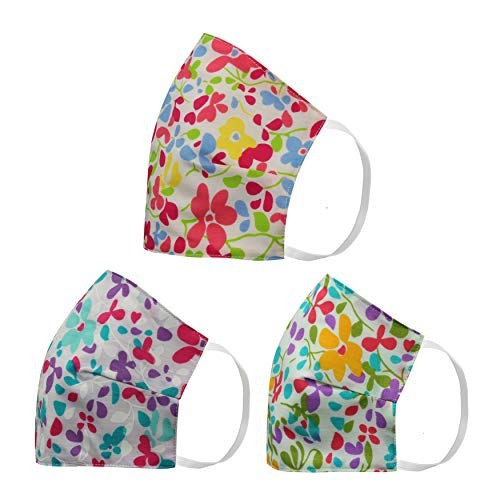 Face Mask Floral 3-Pack Made in USA Woven Cotton Washable Reusable Protective Multipurpose