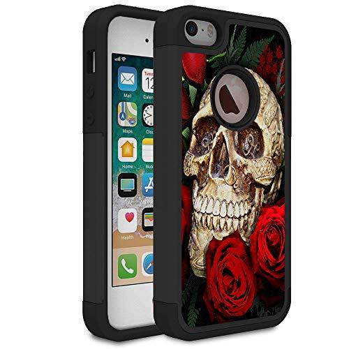 Rossy - Carcasa híbrida de plástico TPU para iPhone 5S, diseño de Calavera roja