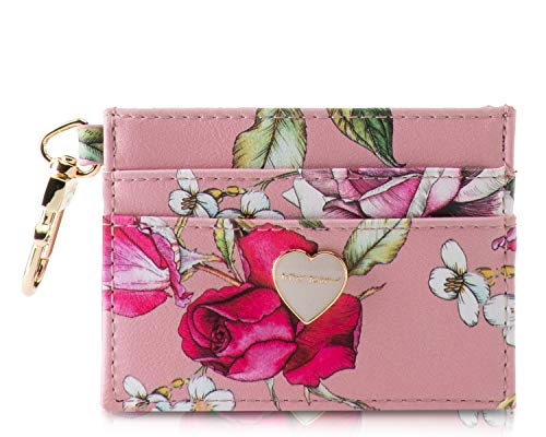 Flower printed Faux leather textured exterior, Thin & Slim Perfectly sized mini card holder measures 4.5 x 3 (WxH) gold-toned thumb slide release clip will hold it securely attached to your handbag, key ring or lanyard strap around your neck Small cl...