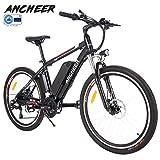 ANCHEER Elektrofahrrad Ebike Mountainbike, 26'/27.5' Elektrisches Fahrrad mit 36V 8Ah/10Ah/12Ah Lithium-Batterie und Shimano 21-Gang (26' Wanderer Schwarz rot 12Ah)