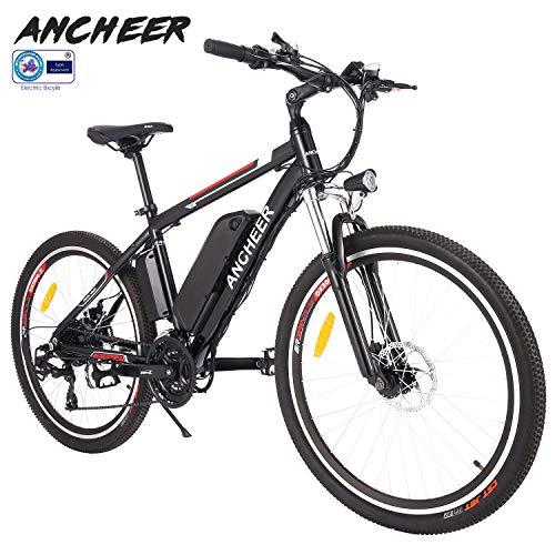 "ANCHEER Elektrofahrrad Ebike Mountainbike, 26\""/27.5\"" Elektrisches Fahrrad mit 36V 8Ah/10Ah/12Ah Lithium-Batterie und Shimano 21-Gang (26\"" Wanderer Schwarz rot 12Ah)"