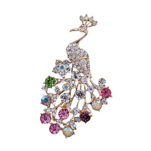 diffstyle Fashion Peacock Rhinestone Brooches for Women Girls Animal Pin Multi Color Crystals (Gold)