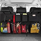 SURDOCA Car Trunk Organizer - 3rd Gen [8 Times Upgrade] Super Capacity Car Hanging Organizer, Equipped with 4 Magic Stick, Car Trunk Tidy Storage Bag with Lids, Space Saving Expert, Black